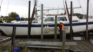 There was always some doubt - would the crane be able to lift this large vessel?  In the end, the crane wasn't the problem - the ground close to the mud berth just couldn't take the pressure.  So this was as far as it went - just enough to inspect the prop!